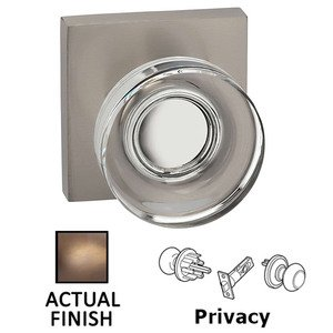 Omnia Industries Privacy Puck Glass Knob With Square Rose in Antique Brass Lacquered