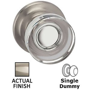 Omnia Industries Single Dummy Puck Glass Knob With Traditional Rose in Polished Polished Nickel Lacquered