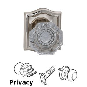 Omnia Industries Privacy Glass Knob with Arch Rose in Polished Nickel Lacquered