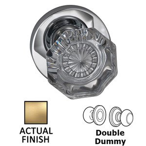 Omnia Industries Double Dummy Classic Glass Knob With Modern Rose in Satin Brass Lacquered