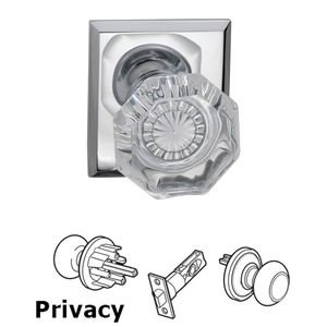 Omnia Industries Privacy Glass Knob with Rectangle Rose in Polished Chrome