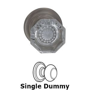 Omnia Industries Single Dummy Glass Knob with Traditional Rose in Satin Nickel Lacquered