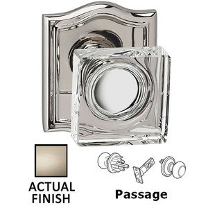 Omnia Industries Passage Square Glass Knob With Arched Rose in Satin Nickel Lacquered