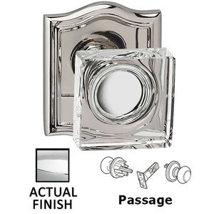 Omnia Industries Passage Square Glass Knob With Arched Rose in Polished Chrome