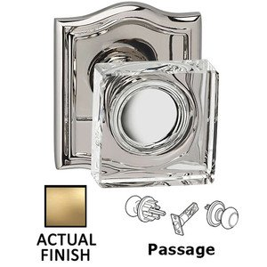 Omnia Industries Passage Square Glass Knob With Arched Rose in Satin Brass Lacquered