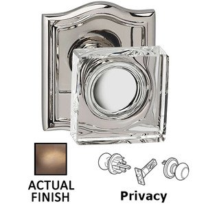 Omnia Industries Privacy Square Glass Knob With Arched Rose in Antique Brass Lacquered