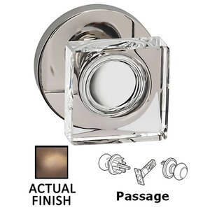 Omnia Industries Passage Square Glass Knob With Modern Rose in Antique Brass