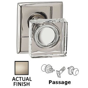 Omnia Industries Passage Square Glass Knob With Rectangular Rose in Satin Nickel Lacquered
