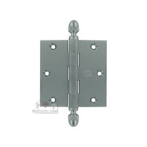 """Omnia Industries 3 1/2"""" x 3 1/2"""" Plain Bearing, Solid Brass Hinge with Acorn Finials in Satin Chrome"""