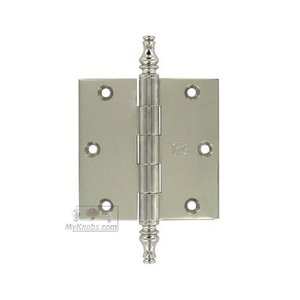 """Omnia Industries 3 1/2"""" x 3 1/2"""" Plain Bearing, Solid Brass Hinge with Steeple Finials in Polished Polished Nickel Lacquered"""