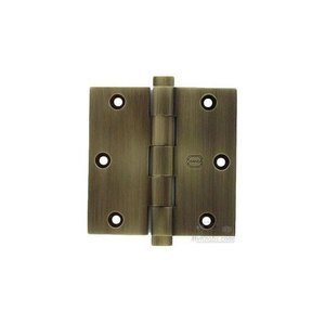 "Omnia Industries 3 1/2"" x 3 1/2"" Plain Bearing, Button Tip Solid Brass Hinge in Shaded Bronze Lacquered, Lacquered"