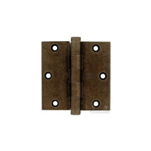 "Omnia Industries 3 1/2"" x 3 1/2"" Plain Bearing, Button Tip Solid Brass Hinge in Vintage Copper"