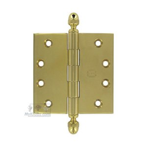 """Omnia Industries 4"""" x 4"""" Plain Bearing, Solid Brass Hinge with Acorn Finials in Polished Brass Lacquered"""