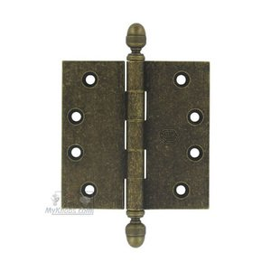 "Omnia Industries 4"" x 4"" Plain Bearing, Solid Brass Hinge with Acorn Finials in Vintage Brass"
