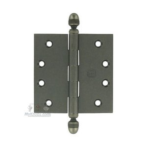 """Omnia Industries 4"""" x 4"""" Plain Bearing, Solid Brass Hinge with Acorn Finials in Vintage Iron"""