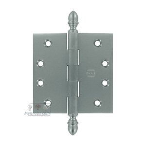 """Omnia Industries 4"""" x 4"""" Plain Bearing, Solid Brass Hinge with Crown Finials in Satin Chrome"""