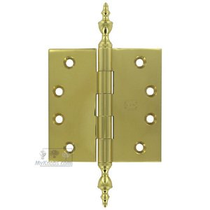 """Omnia Industries 4"""" x 4"""" Plain Bearing, Solid Brass Hinge with Urn Finials in Max Brass®"""