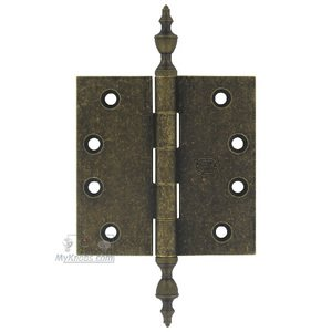 """Omnia Industries 4"""" x 4"""" Plain Bearing, Solid Brass Hinge with Urn Finials in Vintage Brass"""