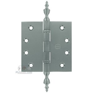 """Omnia Industries 4"""" x 4"""" Ball Bearing, Solid Brass Hinge with Urn Finials in Satin Chrome"""