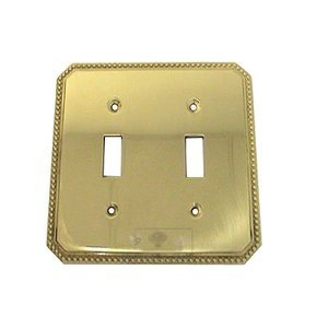 Omnia Industries Beaded Double Toggle Switchplate in Polished Brass Lacquered