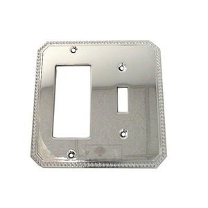Omnia Industries Beaded Single Toggle with Single Rocker Cutout Switchplate in Polished Chrome
