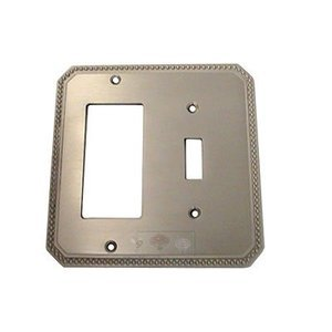 Omnia Industries Beaded Single Toggle with Single Rocker Cutout Switchplate in Satin Nickel Lacquered