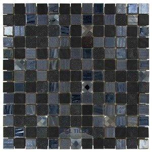 """Onix Mosaico Glass Tiles 1"""" x 1"""" Tile in Agata Diamond Black"""