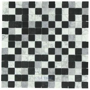 "Onix Mosaico Glass Tiles 1"" x 1"" Tile in Carrara Mix Dark"