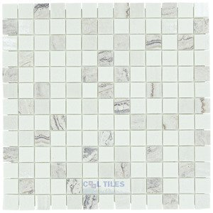 """Onix Mosaico Glass Tiles 1"""" x 1"""" Tile in Pupils White"""