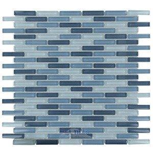"Optimal Tile 3/8"" x 1 7/8"" Slim Glass Mosaic in Sky Blue Blend"