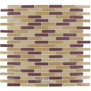 "Optimal Tile 3/8"" x 1 7/8"" Slim Glass Mosaic in Natural Blend"