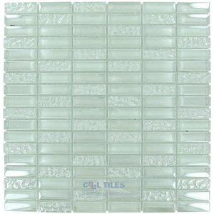 "Optimal Tile 5/8"" x 1 7/8"" Iridescent Linear Glass Mosaic in Light"