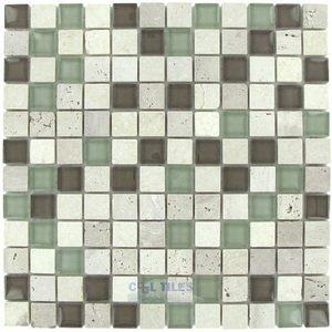"Optimal Tile 7/8"" x 7/8"" Glass and Travertine Mosaic in Khaki"