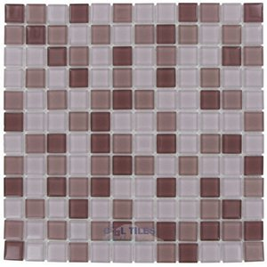 """Optimal Tile 7/8"""" x 7/8"""" Glossy Glass Mosaic in Plum Blend"""