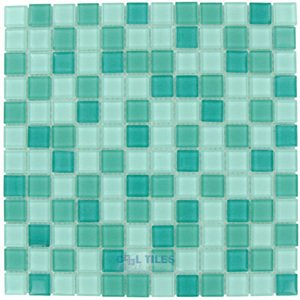 "Optimal Tile 7/8"" x 7/8"" Glossy Glass Mosaic in Teal Blend"