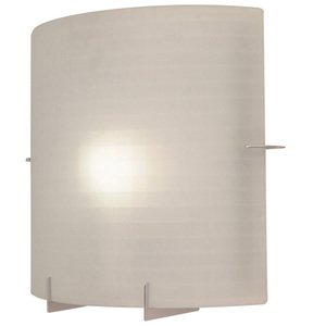 PLC Lighting CFL Double Wall Sconce in Polished Chrome with Checkered Acid Frost Glass