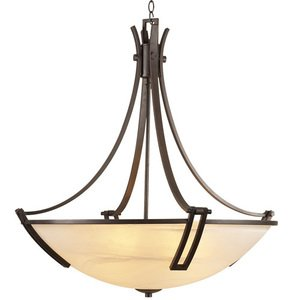 """PLC Lighting CFL 25"""" Chandelier in Oil Rubbed Bronze with Marbleized Glass"""