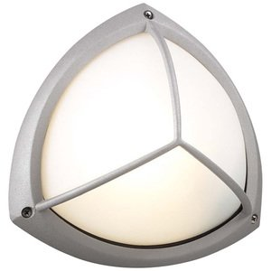 "PLC Lighting 10"" Exterior Light in Silver with Frost Glass in Silver With Frost Glass"