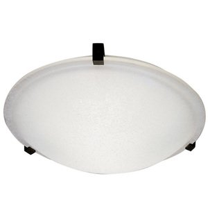 """PLC Lighting CFL 20"""" Flush Ceiling Light in Black with Frost Glass"""