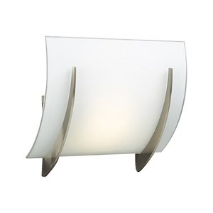PLC Lighting Wall Light in Satin Nickel with Matte Opal Glass