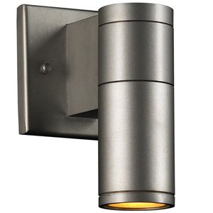 "PLC Lighting CFL 4 1/2"" Exterior Light in Aluminum with Clear Glass"