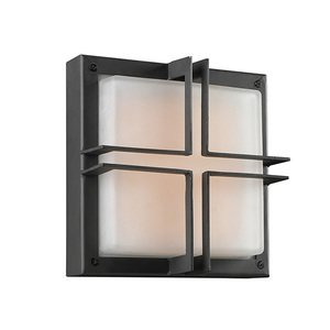 """PLC Lighting 10"""" Flush Mount with CFL Bulbs Exterior Light in Bronze with Frost Glass"""