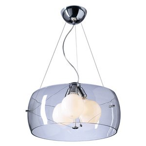 "PLC Lighting 21"" Ceiling Light in Polished Chrome with Clear Glass"