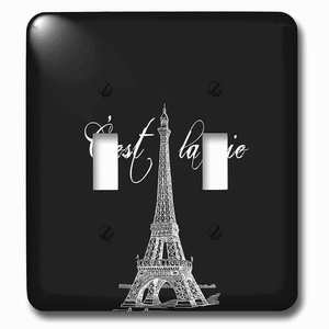 Jazzy Wallplates Double Toggle Wallplate With French Black And White Eiffel Tower