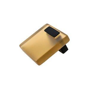 R. Christensen Hardware 16mm Centers Spectrum Pull in Matte Black with Transparent Light Brown