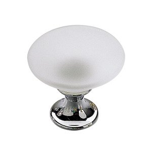 "Richelieu Hardware 1 3/16"" Diameter Smooth Faced Knob in Chrome and Frosted Clear Murano Glass"