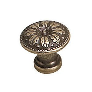 "Richelieu Hardware Solid Brass 3/4"" Diameter Leaf Embossed Knob in Burnished Brass"