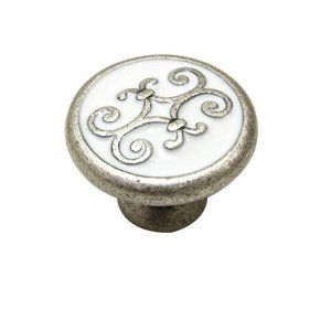 "Richelieu Hardware Solid Brass with Enamel 1 3/16"" Diameter Filigree Knob in Faux Iron"