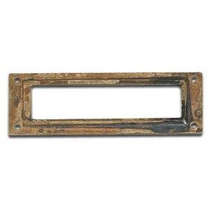 "Richelieu Hardware 3 5/32"" Long Label Holder in Oxidized Brass"