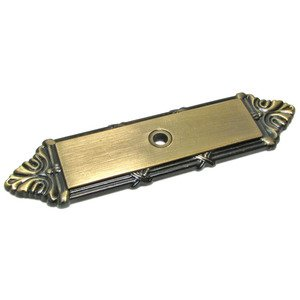 """Richelieu Hardware 4 3/16"""" Long Knob Backplate with Twig and Cross-tie Detail in Antique English"""